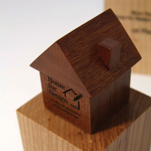 Unique Wood Award Carved Into A Miniature House Shape Mounted On Lighter Block Each Is Personalised By
