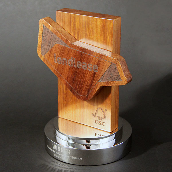 Layered Wood Award With Laser Engraved Details Mounted On A Polished Aluminium Base Each Is Personalised By Engraving
