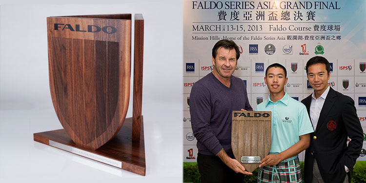 Nick Faldo presents wooden Faldo golf trophy