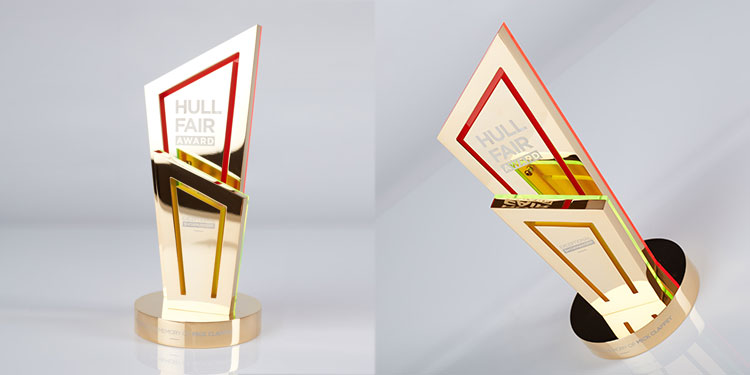 Hull Fair trophy, gold-plated & decorated in red acrylic