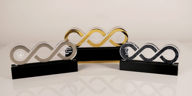Willmott Dixon building awards in style of chain, made in silver, gold & sparkling balck