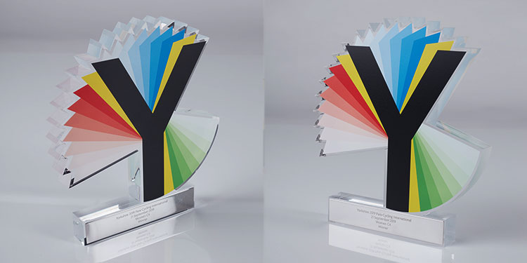 Custom logo trophy featuring the Y of Yorkshire in multi-colours