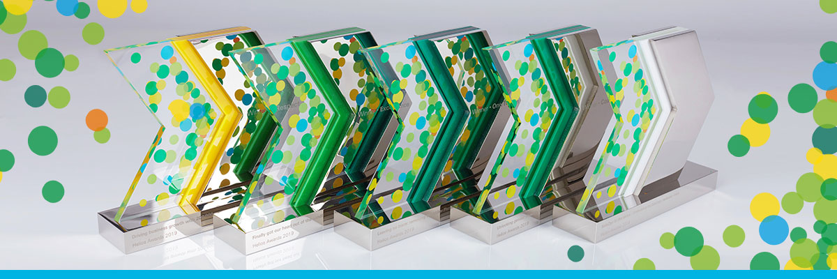 Family of plated aluminium and acrylic custom trophies for recognition awards