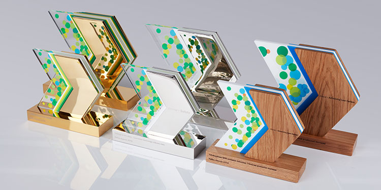 Custom trophies for staff recognition in aluminium, acrylic & wood