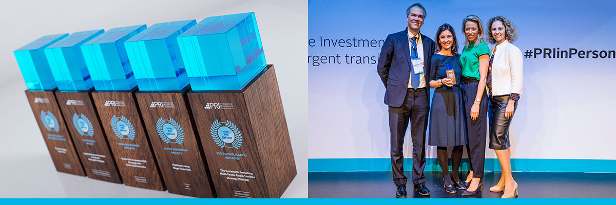 Composite photo of PRI 2019 wooden award & presentation