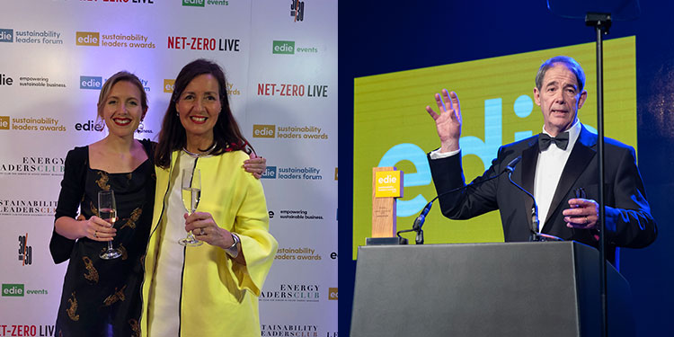 Jonathan Porritt addresses edies with sustainability award on the podium