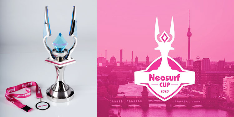 Neosurf cup in silver finish with League of Legend wings & medal