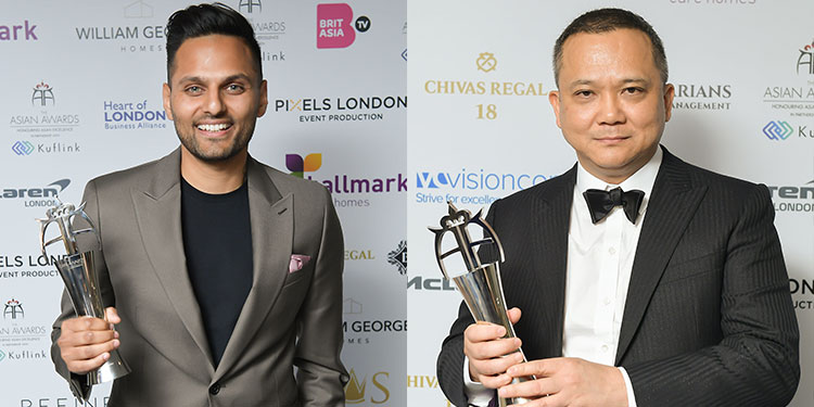 The Asian Awards - two winners with their trophies