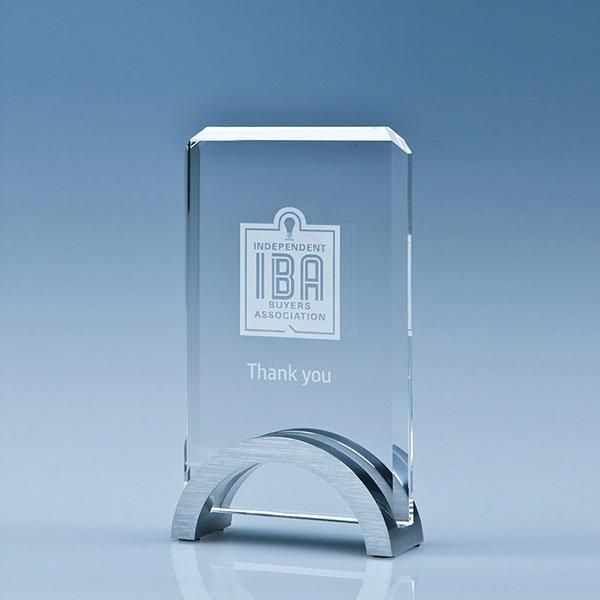 15cm crystal rectangle award with aluminium base