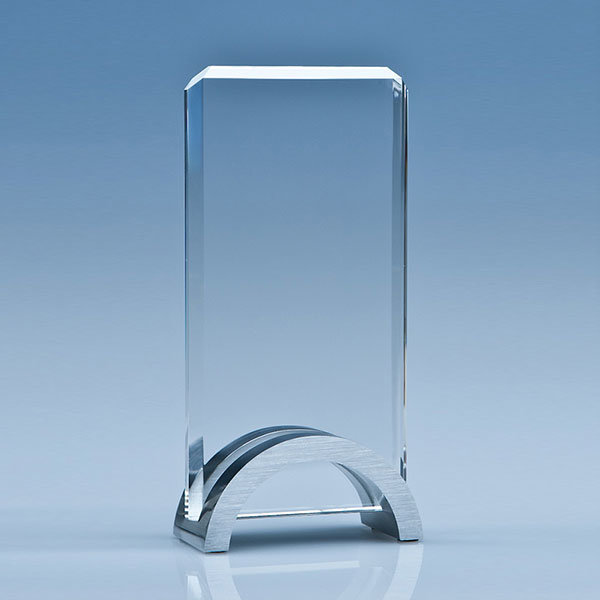 17.5cm crystal rectangle award with aluminium base