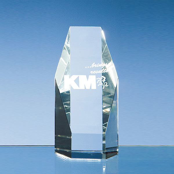 12.5cm crystal hexagon award