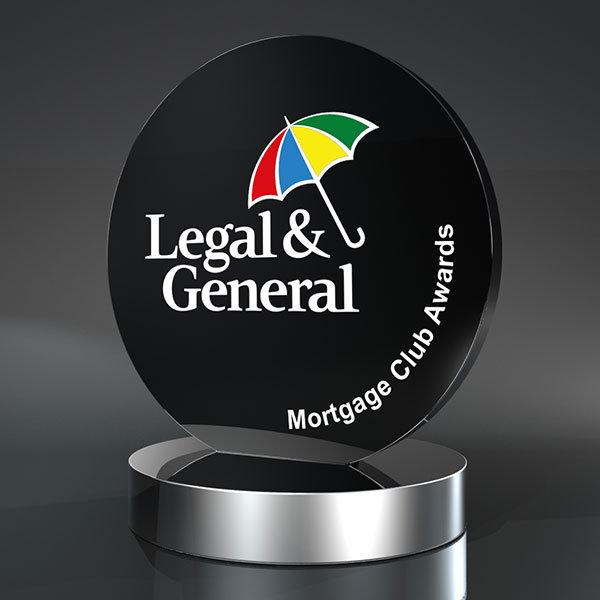 black acrylic circle award
