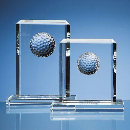 Crystal golf ball rectangular award